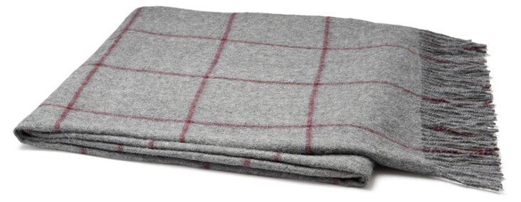 Square Pad Alpaca Throw, Gray/Red