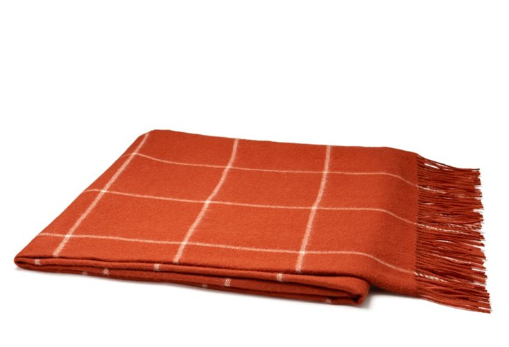 Square Pad Throw, Brick/Ivory