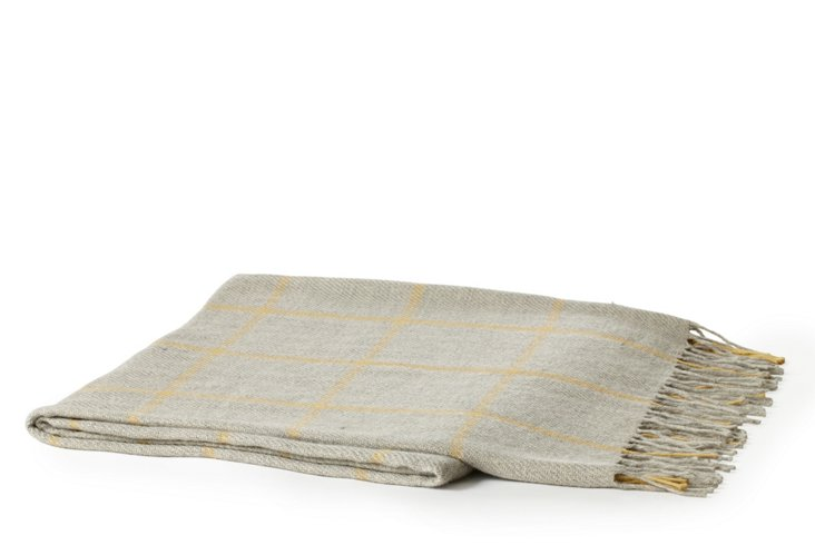 Griffin Throw, Taupe/Light Yellow