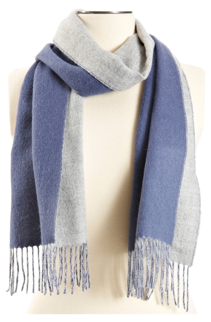 Reversible Scarf, Blue/Gray