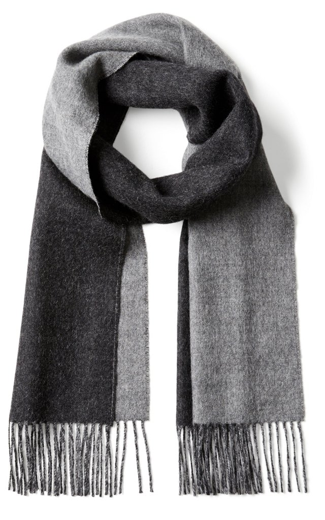 Alpaca Reversible Scarf, Charcoal/Gray