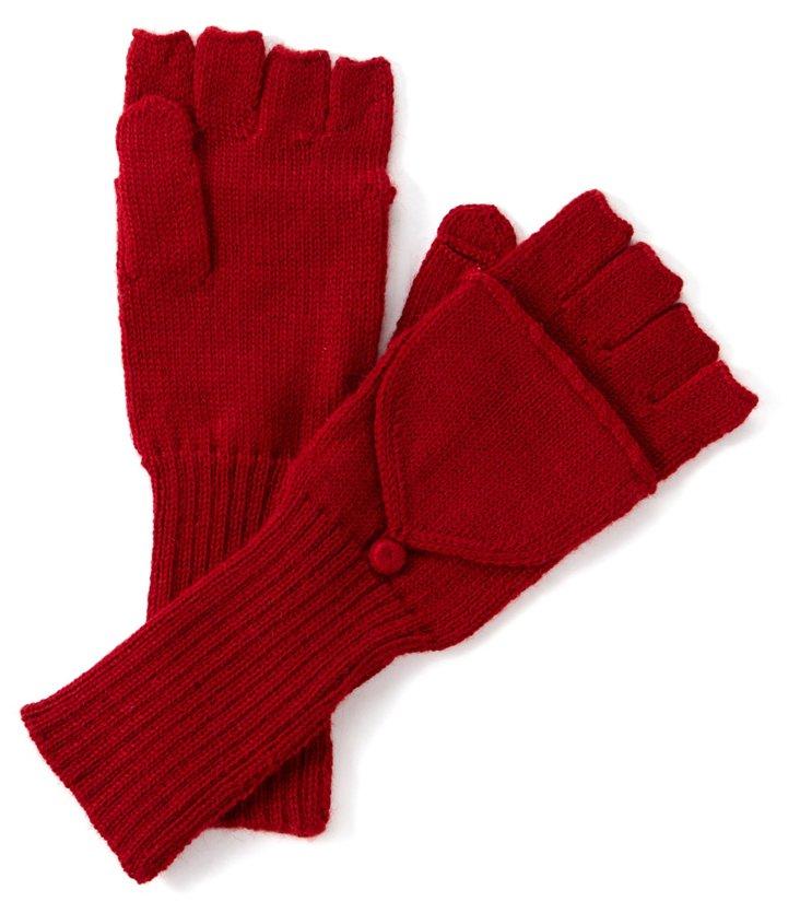 Alpaca Fingerless Gloves, Red