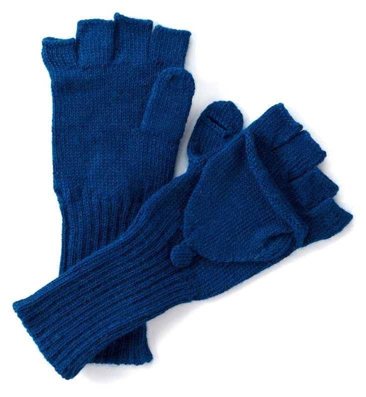 Alpaca Fingerless Gloves, Teal