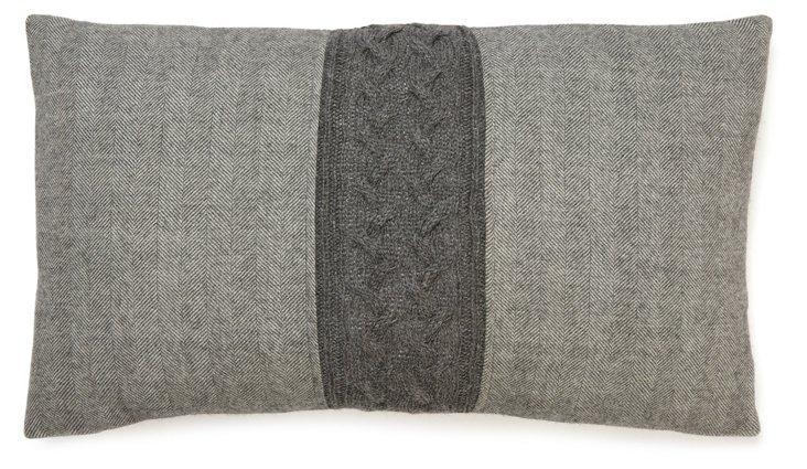 Herringbone 13x20 Pillow, Dark Gray
