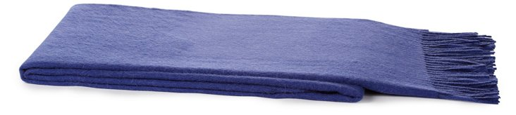 Solid Alpaca-Blended Throw, Jeans Blue