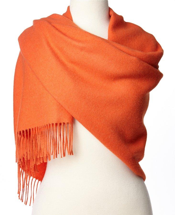 Fringe Alpaca Wrap, Orange