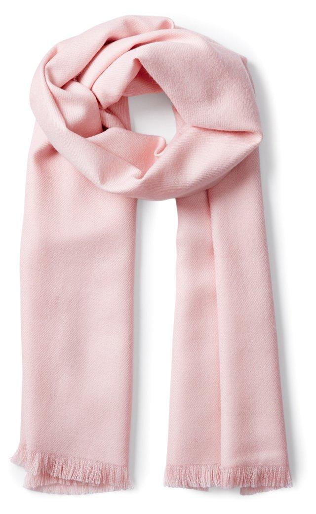 Luxe Wide Alpaca Scarf, Light Rose