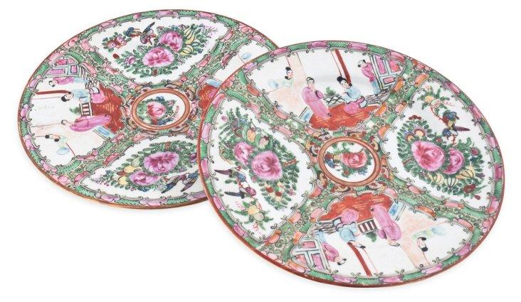 Famille Rose Plates, Pair