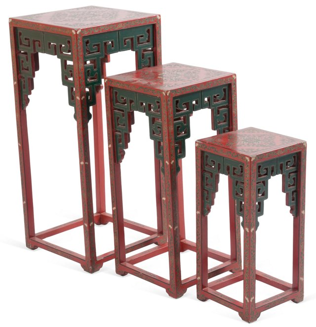 Red Chinoiserie Nesting Tables, Set of 3