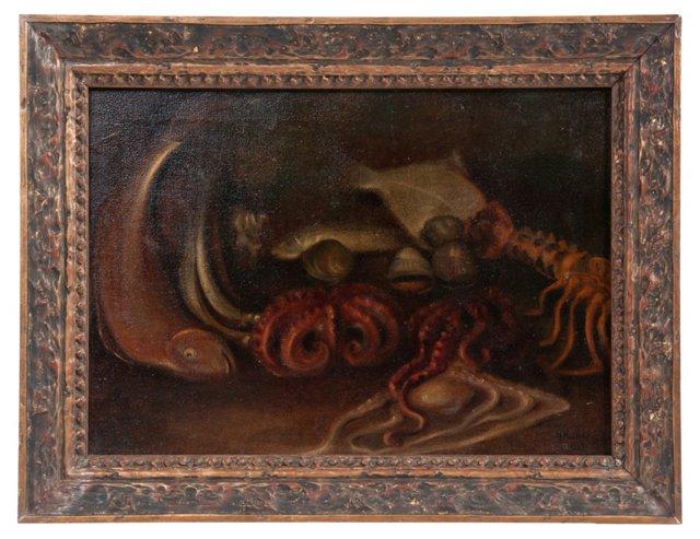 Framed Painting, Fish Still Life