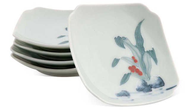 Small Celadon Plates, Set of 5