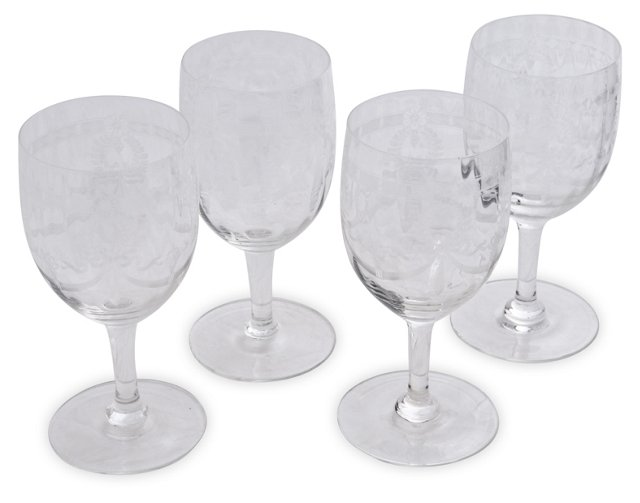 Etched Water Goblets, Set of 4