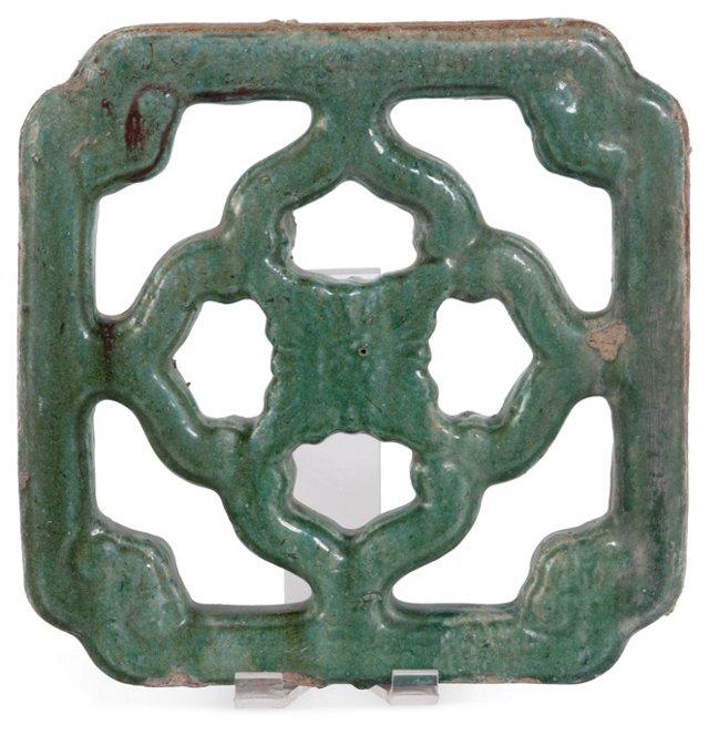 Glazed Ceramic Garden Tile, Green