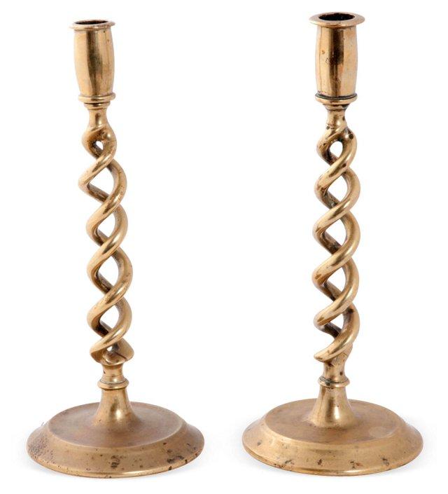 Twist Brass Candlesticks, Pair