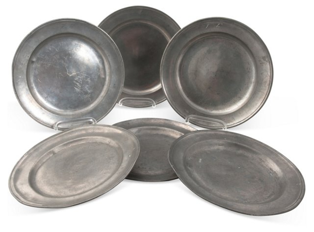 Pewter Plates, 6 Pcs.