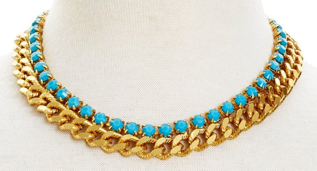 Blue Layered Collar Necklace