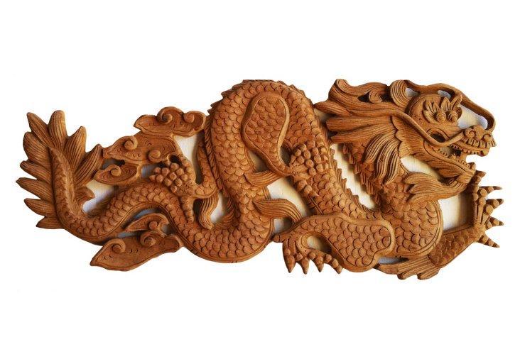 Carved Teak Dragon Panel II