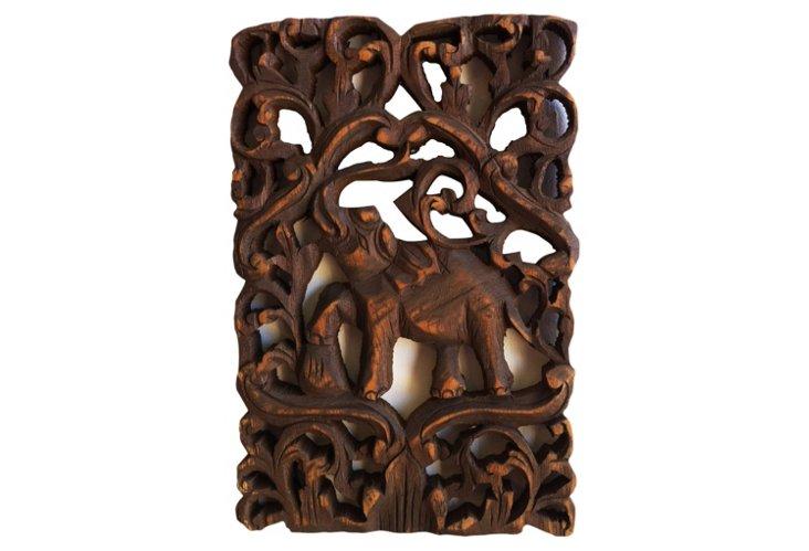 Carved Teak Elephant Panel I