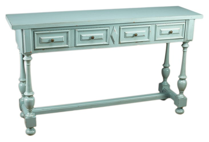 Ana 2-Drawer Console Table, Powder Blue