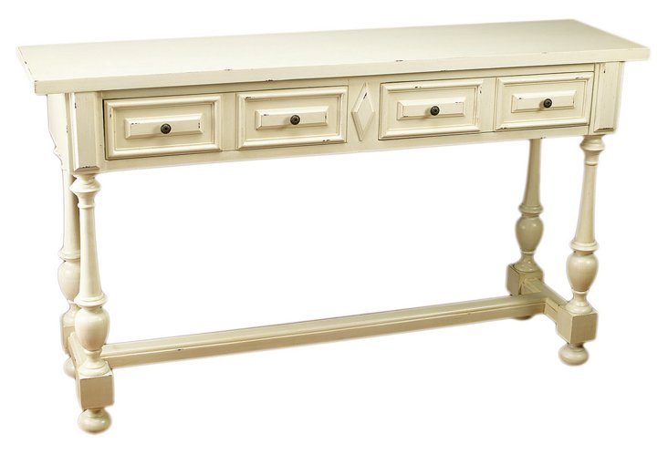 Ana 2-Drawer Console Table, Ivory
