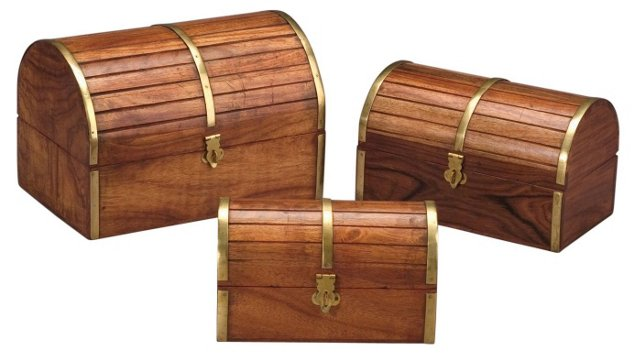 Asst. of 3 Barrel Top Wooden Boxes