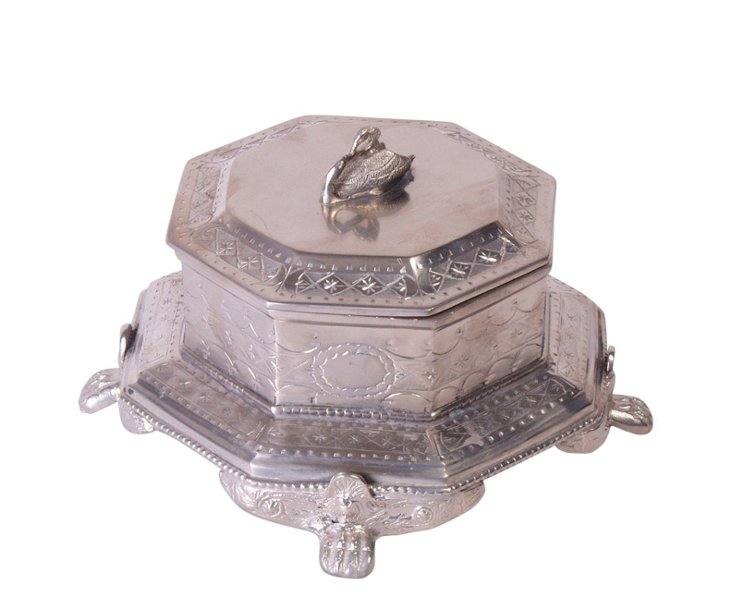 Antiqued Pewter Swan Box, Silver