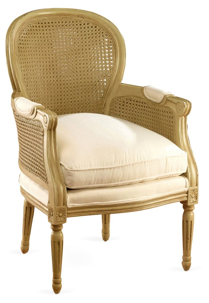 Florence Armchair, Gold/Ivory