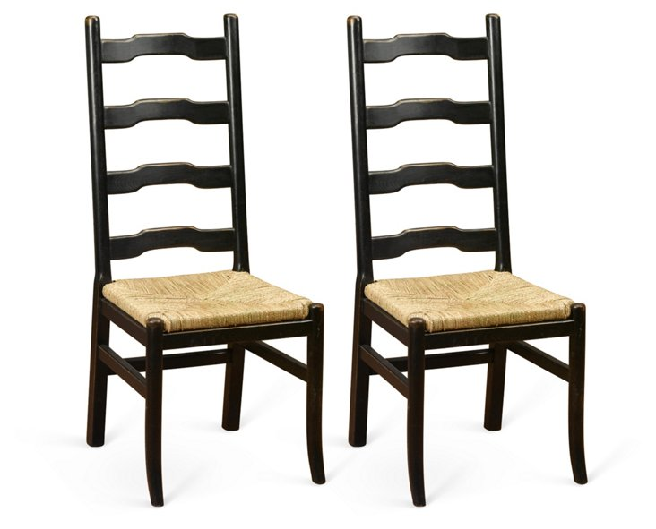 Black Tabitha Chairs, Pair