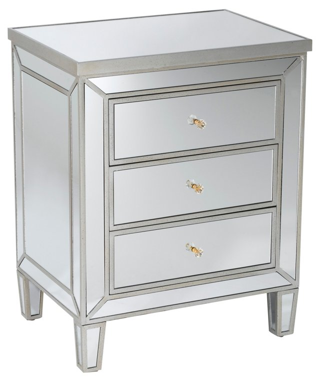 Bella Mirrored Nightstand, Pewter