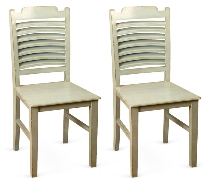Mist Oliver Side Chairs, Pair