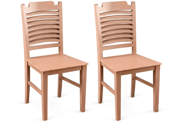 Light Pink Oliver Side Chairs, Pair
