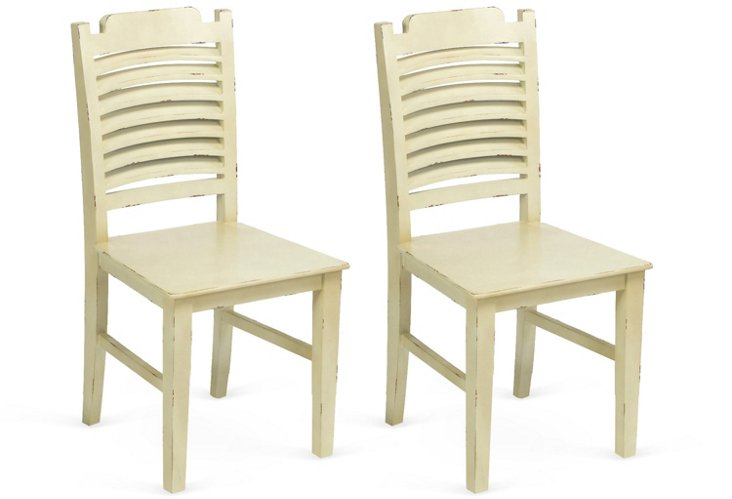 White Oliver Side Chairs, Pair
