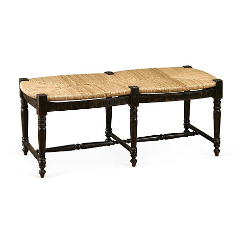 "Betsy 51"" Woven Bench, Black"