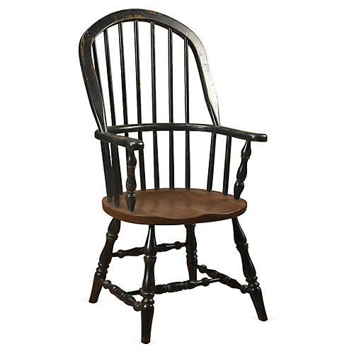 Windsor Armchair, Black/Walnut