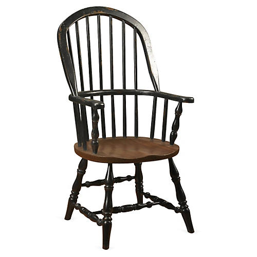 Windsor Armchair, Distressed Black