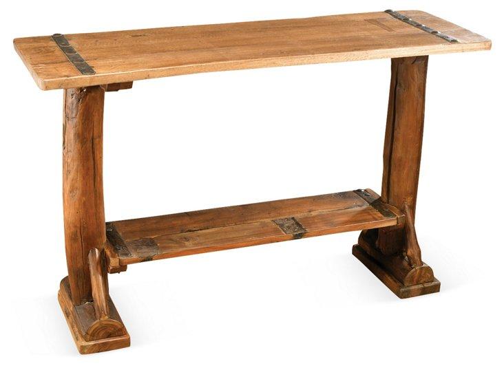 Eloise Log Console Table, Honey