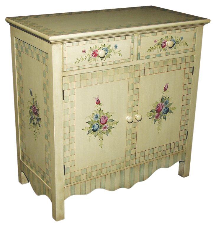 Rowan 2-Door Cabinet, Cream/Multi