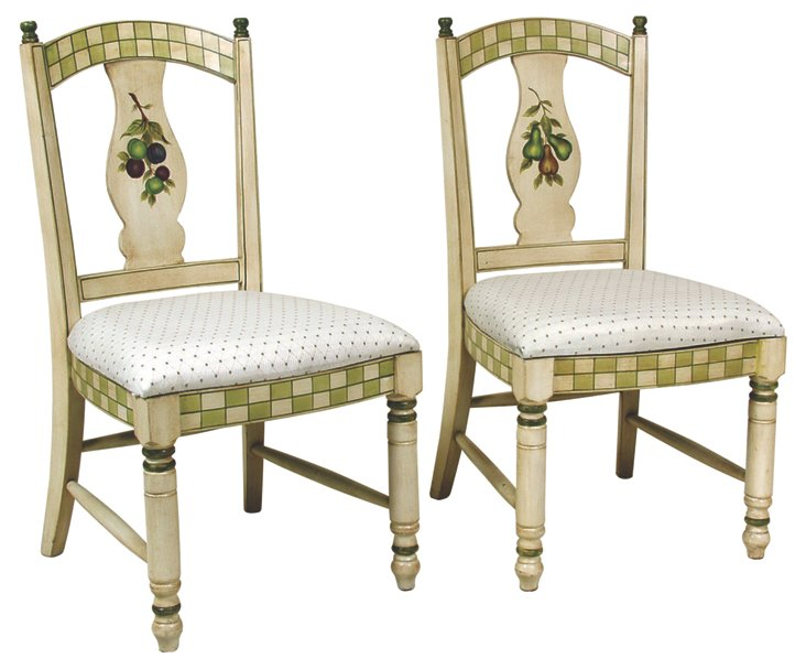 Ivory Jensen Side Chairs, Pair