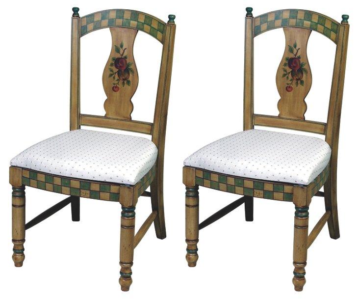 Brown Jensen Side Chairs, Pair
