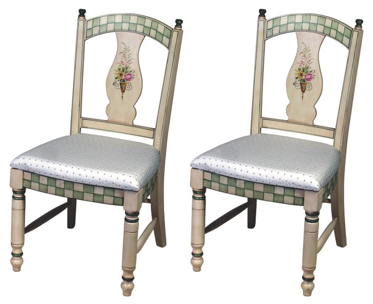 White/Multi Jensen Side Chairs, Pair