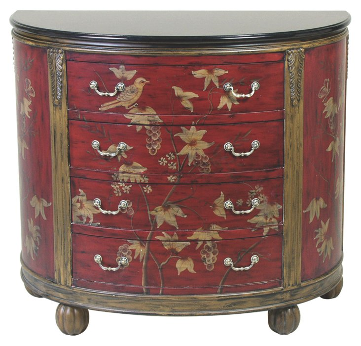 Lillian Demilune Chest, Red/Gold