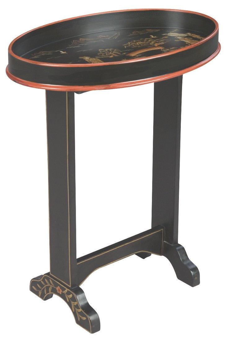 Market Oval Side Table, Black/Gold