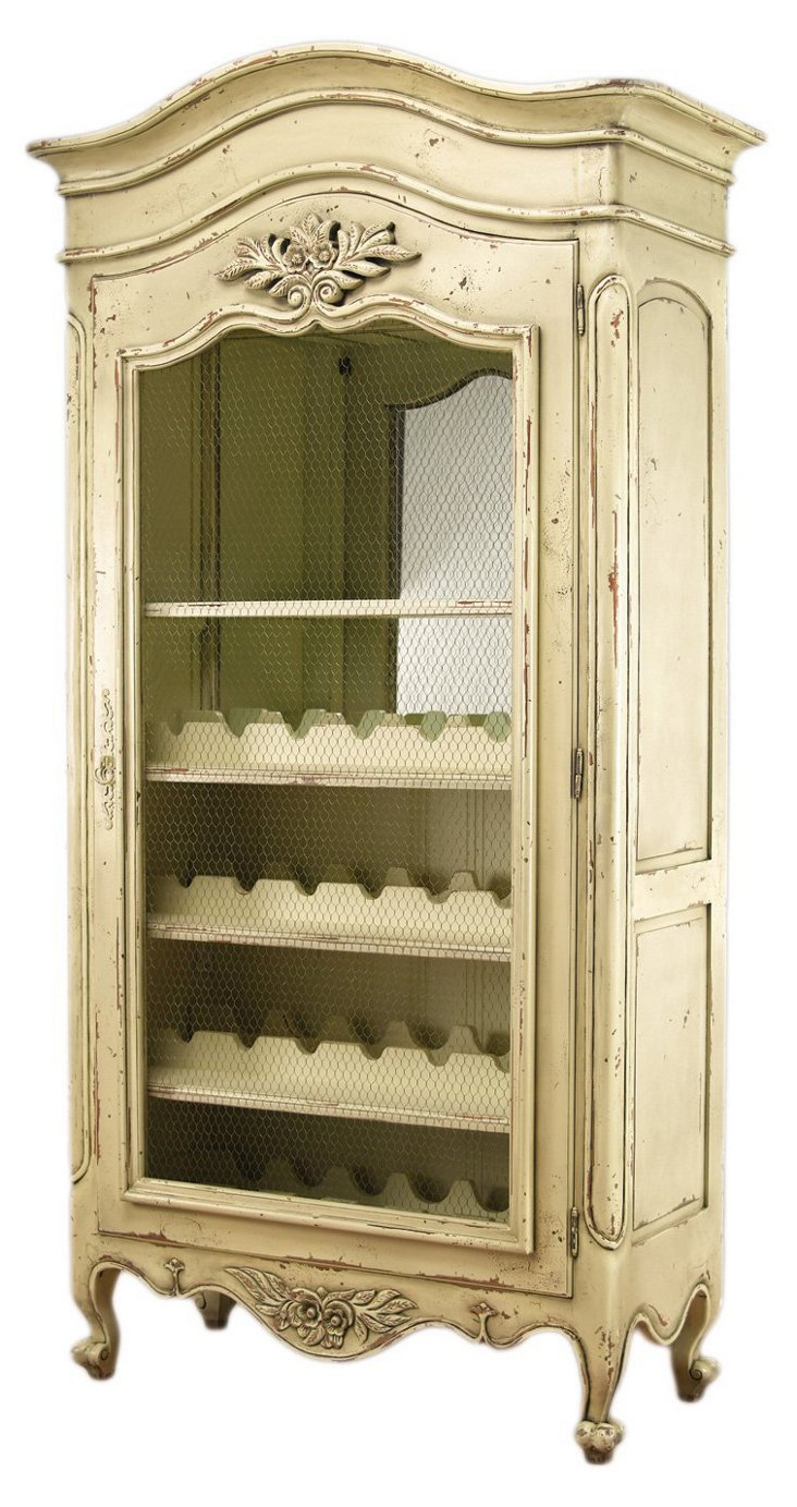 Swift Wine Cabinet, Distressed Parchment