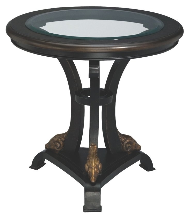 Clason Round Glass-Top Lamp Table, Black