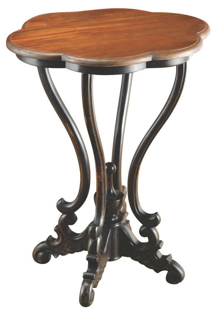 *   Ana Scalloped Lamp Table, Walnut/B