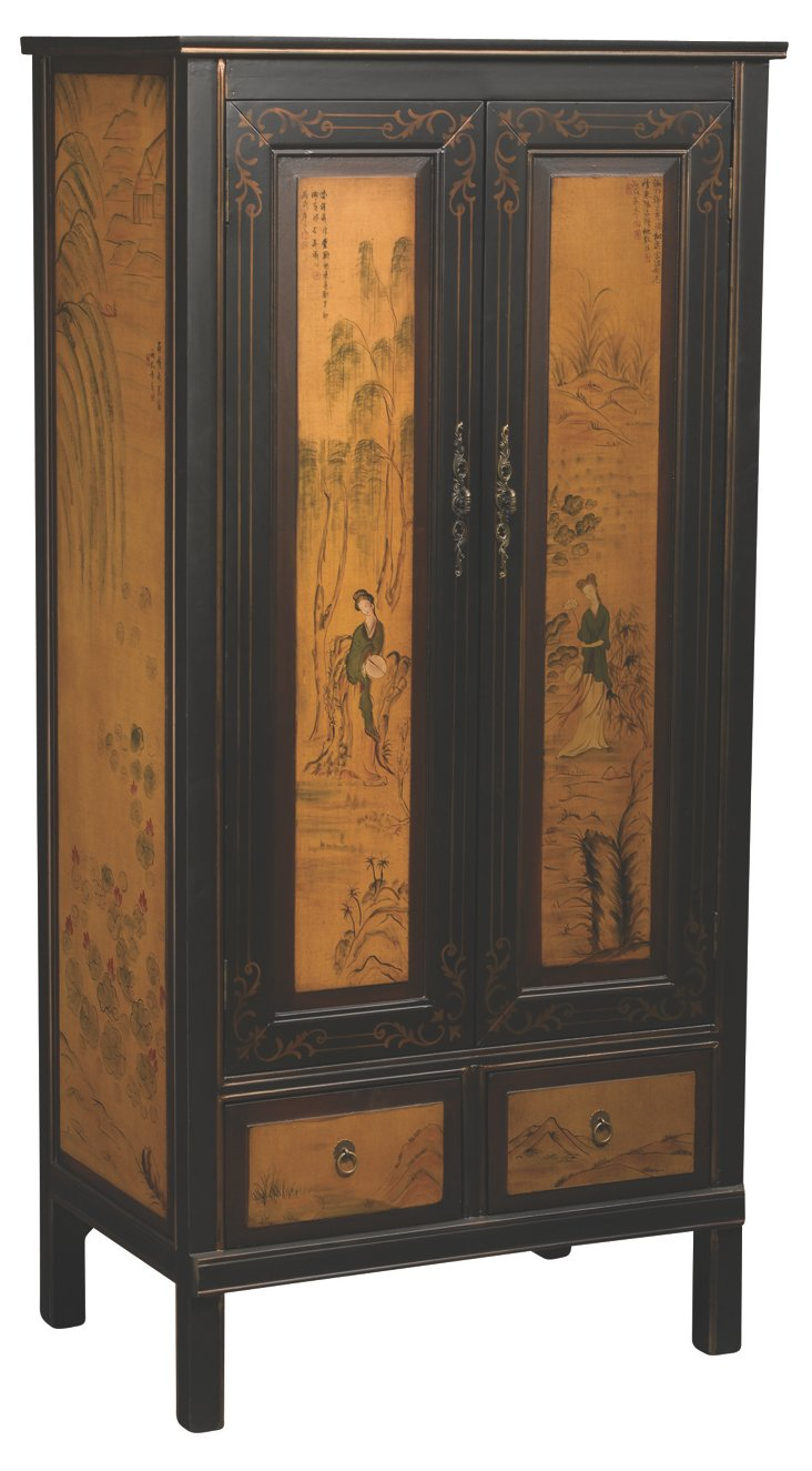 Anneliese Armoire, Black/Tan