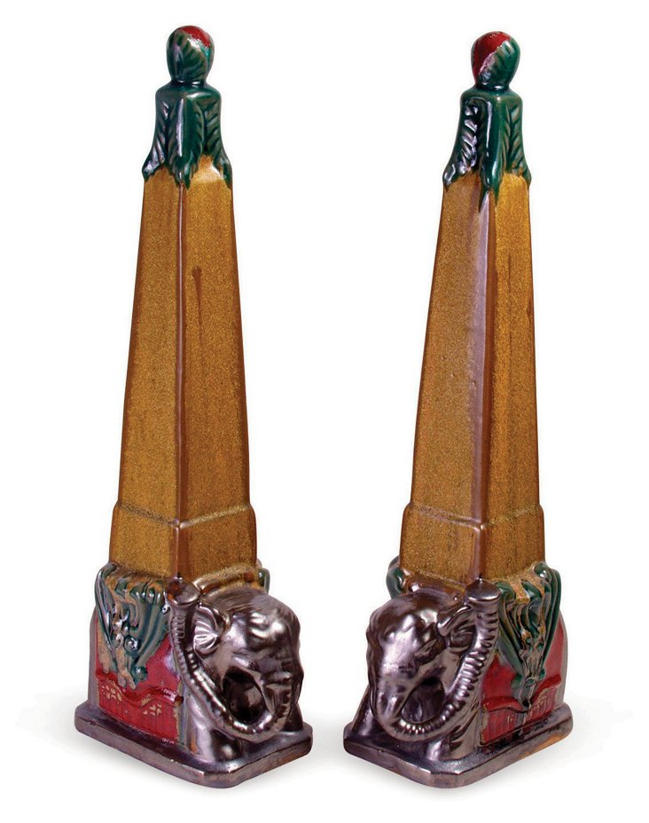 Pair of Gold Elephant Finials