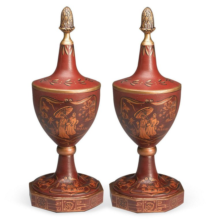 Pair of Picturesque Finials, Red