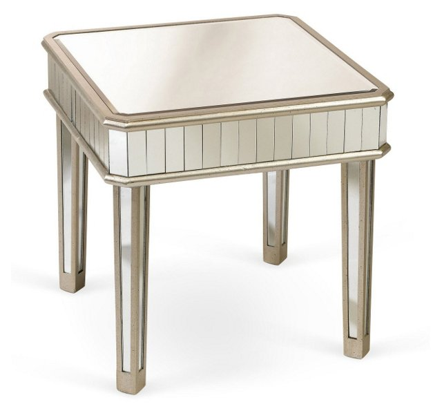 Cecily Mirrored Side Table, Silver