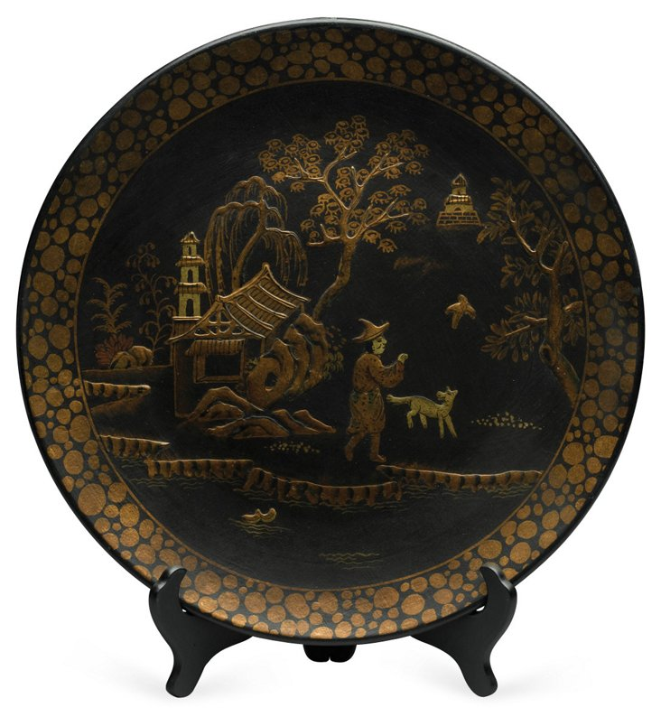 Black & Gold Plate w/ Stand